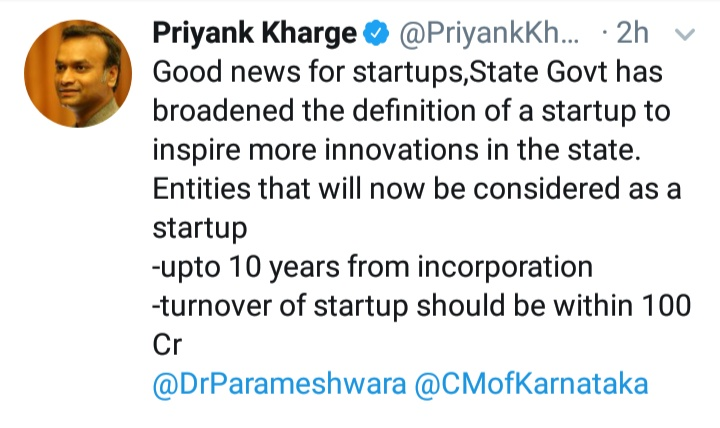 Karnataka Govt has broadened the definition of a startup